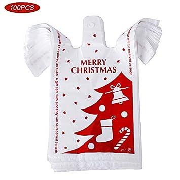 100pcs Bolsas Plástico para Regalos con Asas (18 * 10 * 35cm) Bolsas Camiseta Plastico Bolsas de Compra para Halloween Navidad Fiestas Tiendas ...