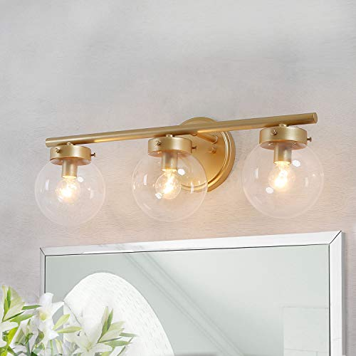 KSANA Bathroom Light Fixtures, Bathroom Vanity Light Fixtures with Clear Globe Glass, 19.5 (L) 6 (W) 7.5 (H)