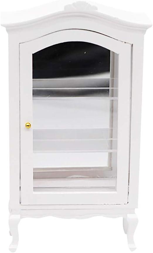 1:12 Dollhouse Miniature Food Drink Display Cupboard Cabinet Shelf Showcase A
