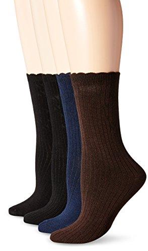 PEDS Women's Classic Black Ladies Dress Crew Socks, Pack of 2, Assorted, Shoe Size/5-10 ()
