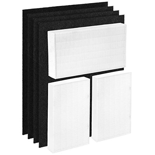 Altec Filters True HEPA Premium Quality Replacement Filters Compatible for HPA300 Air Purifier, 3 True HEPA Filters Plus 4 Activated Carbon Prefilters Honeywell Filter R Filter A HRF-R3 HRF-AP1