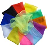"Hoerev® Small Pack of 12 (approx. 16"" x 16"") Juggling(dance) Scarves ,Small Floaty Scarves For Small People,Single Colors"