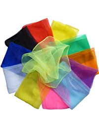 "Hoerev® Small Pack of 12 (approx. 16"" x 16"") Juggling(dance) Scarves,Small Floaty Scarves For Small People,Single Colors"