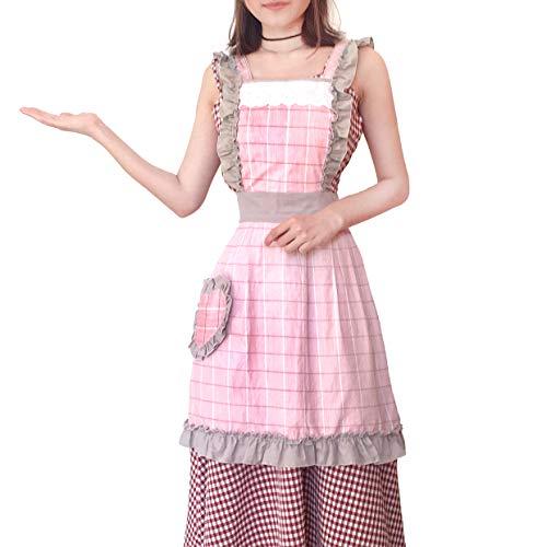색선택 가능 에이프런 귀여운 메이드 복 여성용 카페 에이프런 귀여운 프릴 멋쟁이 꽃무늬 롱 길이 H형 요리 코스프레 보육사용