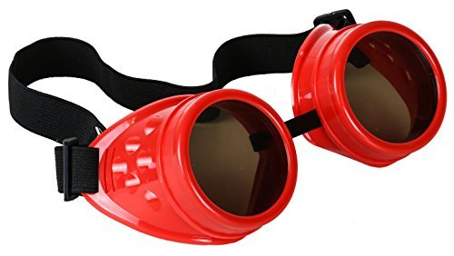 Plain Red Cosplay Goggles Mad Scientist Wielder Glasses DIY Halloween (Diy Zombie Doctor Costume)