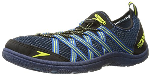 Speedo Men's Seaside Lace 4.0 Water Shoe, Black/Blue, 11 M US