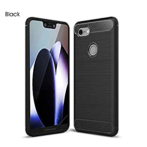 Carbon Fiber Hrbrid Shockproof Heavy Duty Case Cover for Google Pixel 3 (Black)