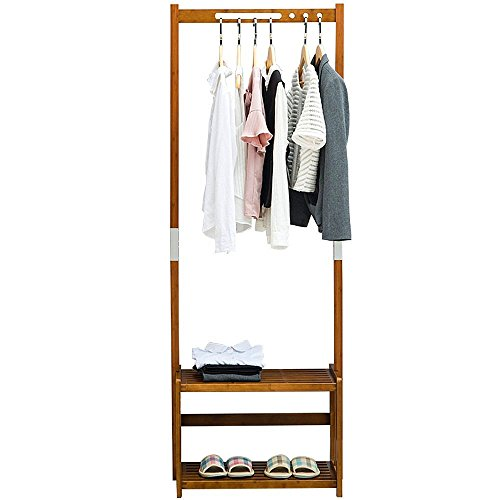 41th7zM%2BnYL - NNEWVANTE Coat Rack Bench Shoes Rack Hallway Hall Tree Organizer 2 Tiers Shelves Storage Rack Entryway Walnut Color