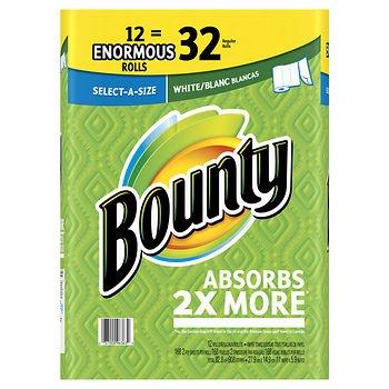 Bounty select-a-size enorme toallas de papel en rollo, 12 Pk. - Color blanco 168 ct: Amazon.es: Hogar