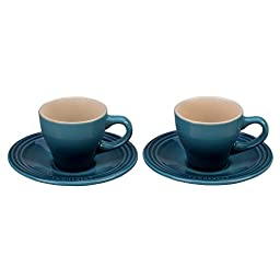 Le Creuset Stoneware Set of 2 Espresso Cups and Saucers - Marine