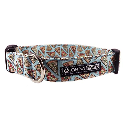 """Pepperoni Pizza Dog or Cat Collar for Pets in Size Medium with Extra Width 1"""" Wide long 12-19"""" Long by Oh My Paw"""