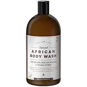 Calily Life Organic African Black Soap Body Wash with Charcoal and Dead Sea Minerals, 33.8 Fl Oz. – Powerful Natural Skin Cleanser, Gently Fights Acne and Brightens Skin for a Healthy & Youthful Glow