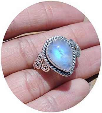 9x13 MM Pear Shape Smooth Moonstone Ring Size US 8.25, 8.5, 8.75, 9, 9.25, Gorgeous Design, Blue Flash Rainbow Moonstone Silver Ring, Women Rings, Natural Moon Stone Ring