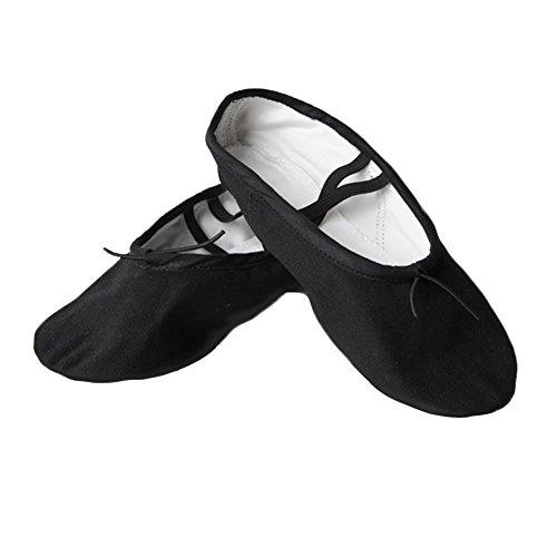 Zerlar Split Sole Canvas Balletto Scarpe Da Ballo Pantofola Yoga Appartamenti Per Ragazze Donne Adulti Bambini Nero