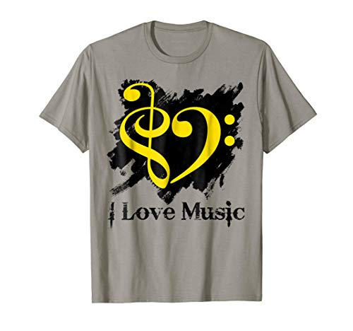 Treble Clef Bass Clef Yellow Heart Grunge Brush Strokes Music Lover Bassist T-Shirt