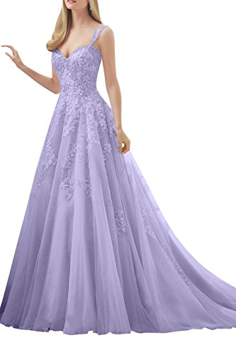 Hochwertig Lilac La Brau Lang Hochzeitskleider Kleider Traeger Spitze mia Brautmode Abendkleider Standsamt Ballkleider fpp6R