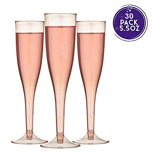 TOROTON 30 Champagne Flutes, 5.5oz Rose Gold Glitter Plastic Champagne Glasses, Disposable Champagne Cups for Wedding Party Cocktail
