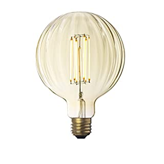Faceted LED Globe Bulb, G40 Round Edison Light, Warm Glow, Dimmable (E26) 4W, Damp Located, Indoor/Outdoor Use, UL Listed - Brooklyn Bulb Co. Myrtle Design