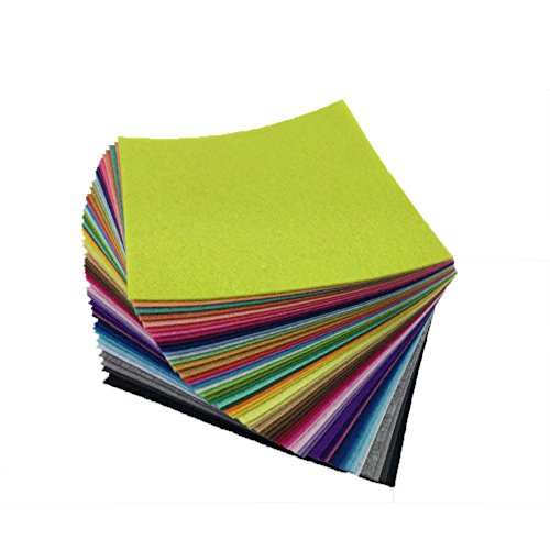 flic-flac 54pcs Felt Fabric Sheet Assorted Color Felt Pack DIY Craft Squares Nonwoven (10cm10cm)