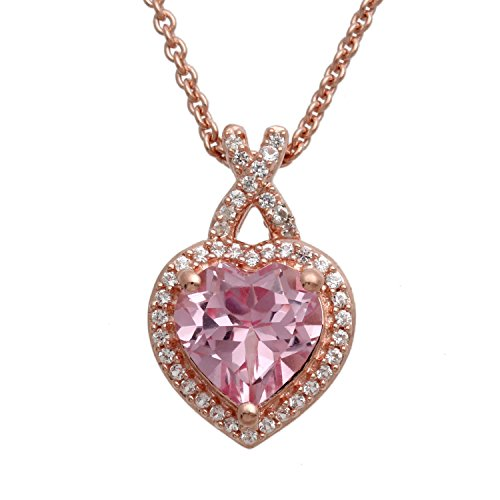 (Jewelili 14K Rose Gold Over Sterling Created morganite and Created White Sapphire Pendant Necklace,18
