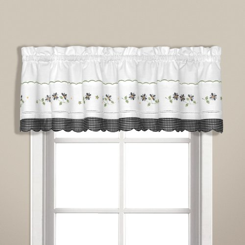 Treatments Swags Window (United Curtain Gingham Embroidered Valance, 60 by 14-Inch, Black)