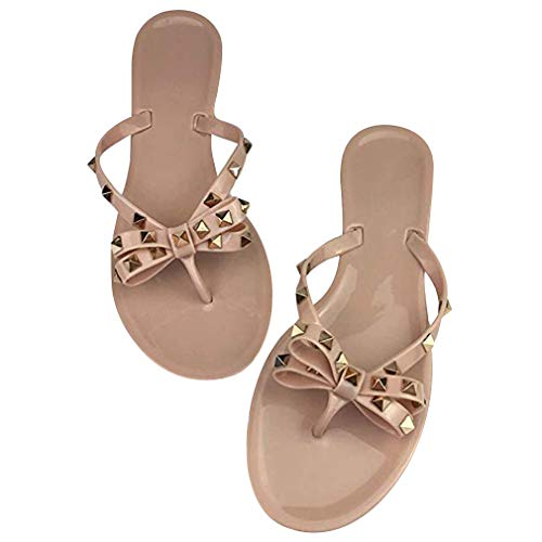 - Womens Rivets Bowtie Flip Flops Jelly Thong Sandal Rubber Flat Summer Beach Rain Shoes (US9, ABNude)