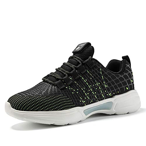 Idea Frames Fiber Optic LED Light Up Shoes for Women Men USB Charging Fashion Sneaker Black/Green -