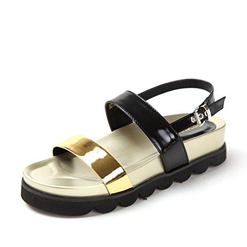 Sandalias de verano/Las señoras suela gruesa plataforma peep-toe zapatos planos A