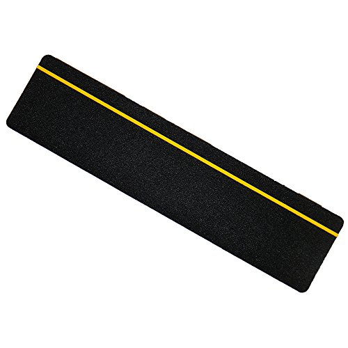 S&X Non-Slip Tape,Indoor & Outdoor,Reflective Yellow Stripe Safety Treads,6 X 24,5 Pcs/Pack (Black)