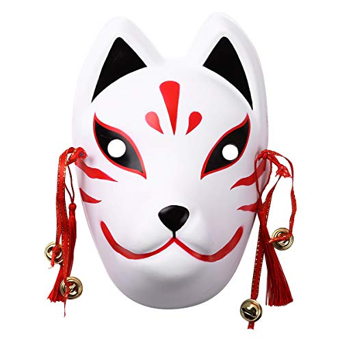 CHICTRY Fox Mask with Tassels and Small Bells Full Face Japanese Anime Mask for Halloween Masquerade Cosplay Party