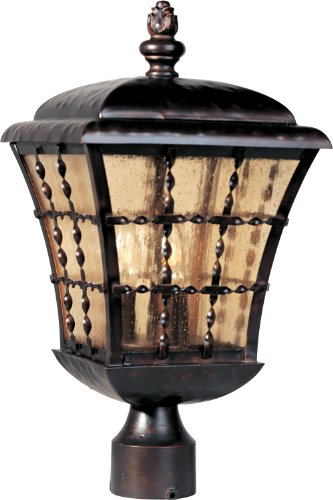- Maxim 30490ASOI Orleans 3-Light Outdoor Pole/Post Lantern, Oil Rubbed Bronze Finish, Amber Seedy Glass, CA Incandescent Incandescent Bulb , 25W Max., Dry Safety Rating, 3000K Color Temp, Standard Triac/Lutron or Leviton Dimmable, Frosted Glass Shade Material, 4930 Rated Lumens