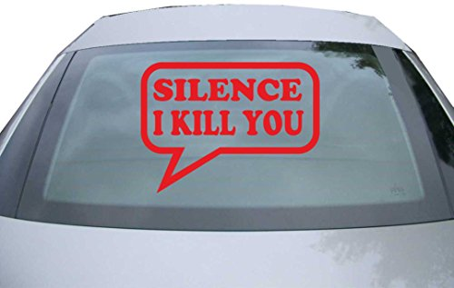 INDIGOS UG Sticker for rear window & engine flap DE2250 - red - 600x440 mm - Silence I Kill you - for car, windows, tailgate, tuning, racing, JDM/Die cut
