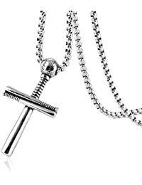 Athletes Cross Necklace by Pendant Sports Stainless Steel Baseball and Baseball Bat Cross Necklace