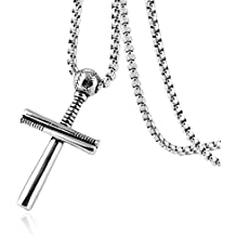 HZMAN Athletes Cross Necklace by Pendant Sports Stainless Steel Baseball and Baseball Bat Cross Necklace