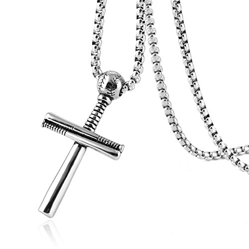 HZMAN+Athletes+Cross+Necklace+by+Pendant+Sports+Stainless+Steel+Baseball+and+Baseball+Bat+Cross+Necklace+%28Silver%29