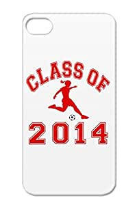 Anti-drop Girl Soccer Back To School Graduation 2014 Class Of T Shirts Sports Soccer Class Christmas Gifts Case For Iphone 4/4s Red Of Girl