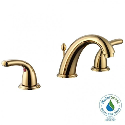 - Glacier Bay Builders 8 in. Widespread 2-Handle High-Arc Bathroom Faucet in Polished Brass