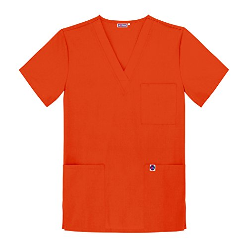 Sivvan Unisex Scrubs V-Neck 3 Pocket Top (Available in 12 Colors) - S8304 - Mandarin Orange - XS