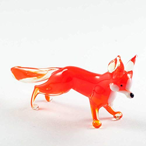 Small Glass Fox Figurine Hand-Blown Art Collectible Figures (Fox Glass)