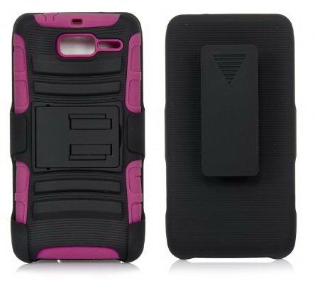 - Motorola Droid Razr M Case, iSee Case Hybrid Kickstand Belt Clip Holster Case for Verizon Motorola Droid Razr M XT907 Razr i XT 890(XT907-King Holster Black on Pink)