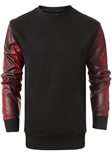 Mens Hipster Fleece Crewneck Long Sleeve W/PU Trim Black-red - Shinny Red