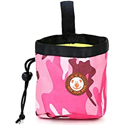 Senoow Dog Treat Training Pocket Pouch nylonLining Poop Bag with Waist Clip and Drawstring