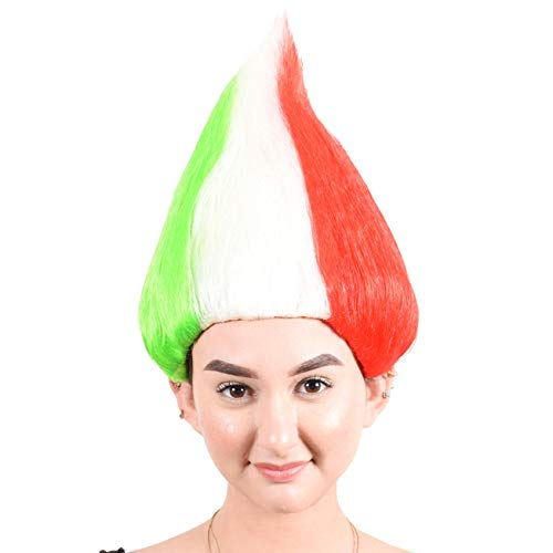 Crazy Football Fan Halloween Costume (CeCe Italy Flag Troll Wig Colorful Hairpiece for Halloween Sport Football Fan Costumes)