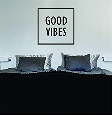 Good Vibes Simple Square Design Quote Decal Sticker Wall Vinyl Art Words Decor
