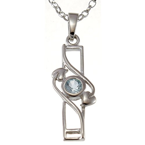 Sterling Silver & Topaz Charles Rennie Mackintosh Pendant Necklace with 18