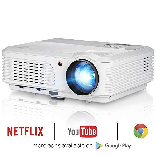 Wireless LCD Home Video Projector HD 1080P Support Airplay Miracast 4400 Lumen WXGA WiFi LED Multimedia Projectors for Gaming Movies Outdoor Theater  with HDMI RCA Audio VGA USB Speakers