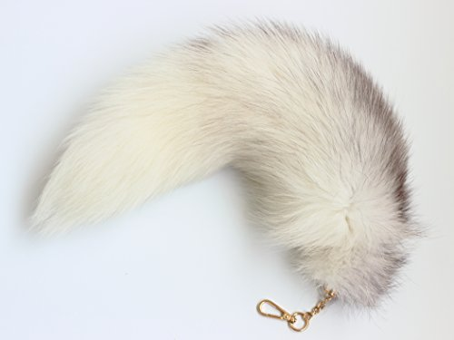 Fosrion Fluffy White Gray Arctic Fox Tail Fur Halloween Cosplay Toy Alopex Lagopus KeyChain