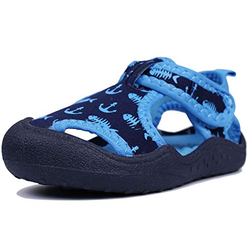 MuyGuay Kids Aquatic Water Shoes Boys and Girls Aqua Shoes with Breathable Fabric Toddler Sport Sandals (7.5 M US Toddler, -