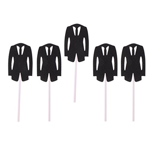 - SunniMix Pack of 5 Romantic Bridal Dress Groom Tuxedo Cake Topper Photo Prop for Wedding Engagement Party - Black Tuxedo, as described