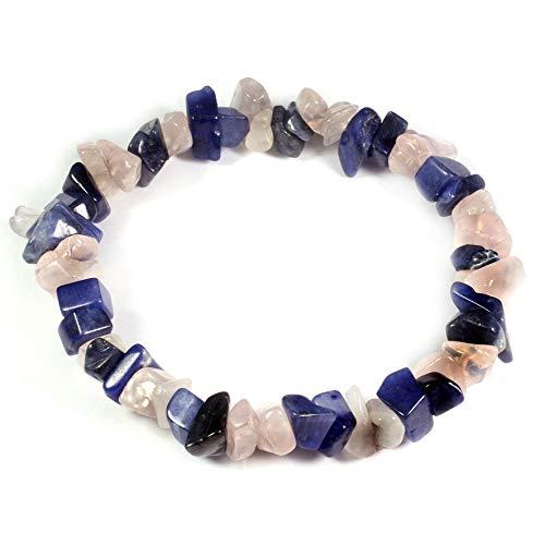CrystalAge Rose Quartz & Sodalite Gem Chip Bracelet